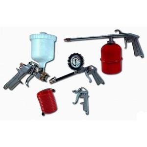 Příslušenství ke kompresoru sada 5dílů, P19610 - Sada nástavců pro kompresor 5 dílná Sada na kompresor s kompletním vybavením pro huštění pneumatik a nanášení barvy pomocí stříkací pistole. stříkací pistole s horní nádobkou, stříkací pistole se spodní nád