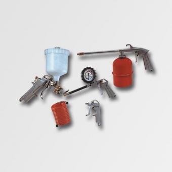 Sada nástavců pro kompresor 5 dílná - Sada nástavců pro kompresor 5 dílná Obsah sady: stříkací pistole, ofukovací pistole, hustilka pneumatik, čistící pistole, spirálová hadice 4m Výrobce: EXTOL