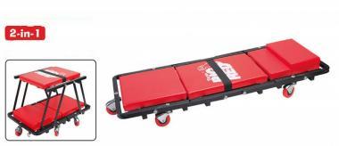 Montážní lehátko polohovací - Montážní lehátko a sedátko a sedátko 2v1 Čalouněné pojízdné lehátko lze snadno upravit na sedátko Použití:autoservisy,autodílny,autodopravy,garáže a.j.
