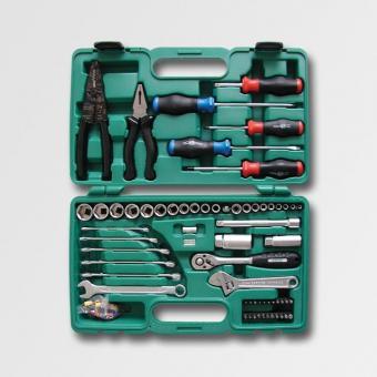 Sada nářadí 112dílů H1320 - Sada nářadí 112dílů H1320 kleště konektorové + konektory, kleště kombinované 160mm, šroubováky PL+PH, hlavice 1/4 4-13mm, hlavice 3/8 10-22mm, klíče ploché 8-15mm, klíč nastavitelný 150mm, ráčna 3/8, klíče na svíčky 16,21mm, ná